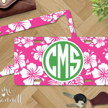 Hawaiian Monogrammed License Plate - Tropical Floral Pattern Personalized Aluminum Car Vanity Plate - Custom Printed Beach Theme Auto Decor