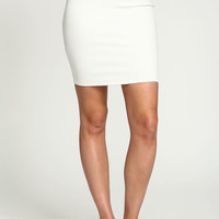 IVORY SPORTY BAND MIDI SKIRT