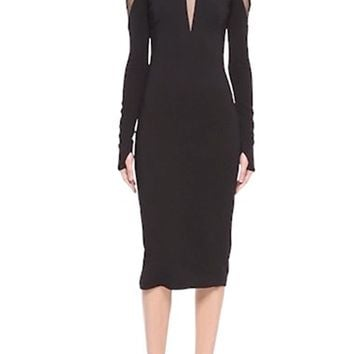 Pamella Roland Tulle Inset Long Sleeve Stretch Crepe Midi Dress | Nordstrom