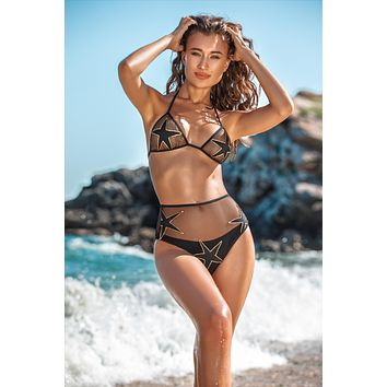 Jolidon Clandestine Pammy Black Sheer Triangle Top & High Waist Thong Set