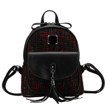 Women Backpack Classic Plaid Schoolbags for Teenager Girls