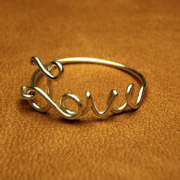 love wire ring   love sterling silver wire script ring by keoops8
