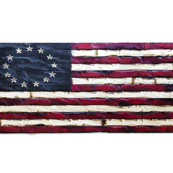Wood Burned American Flag - Betsy Ross Americana Edition 38x20