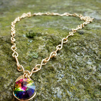 Vitrail Swarovski Pendant Necklace with Gold Leaf