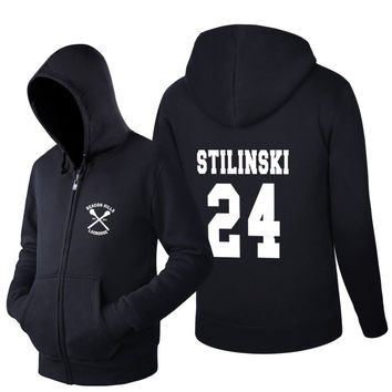 2016 Trendy fashion Sweatshirt BEACON HILLS LACROSSE Tracksuit men Stiles Stilinski Teen 24 Hoodie Hip Hop Zip up Tops