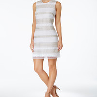 Calvin Klein Lace-Stripe Sheath Dress - Dresses - Women - Macy's