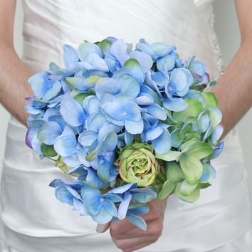 "Silk Hydrangea and Rose Bouquet in Blue and Green12"" Tall"