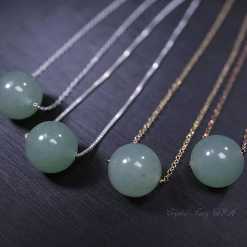Single Green Aventurine Bead Choker,  Sterling silver 14k Gold Filled 10mm Round Green Aventurine Necklace, Heart Chakra Crystal Yoga Heal