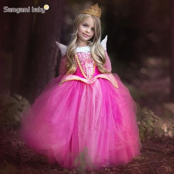 SAMGAMI BABY 2017 Girls European and American Spring and Autumn Love Luo Princess Sleeping Beauty Costume Dress Children Dresses