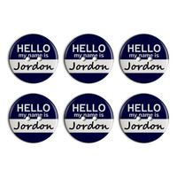 Jordon Hello My Name Is Plastic Resin Button Set of 6