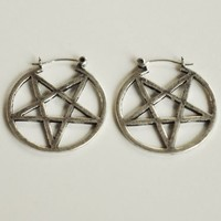 Pamela Love Silver Mini Pentagram Earrings