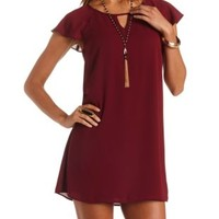 Keyhole Cut-Out Flutter Sleeve Shift Dress by Charlotte Russe - Wine