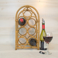 Retro Countertop Seven Bottle Bamboo Wine Rack, Rattan Wine Bottle Holder