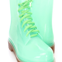 Green Lace Up Jelly Boots Rubber