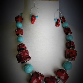 Red Coral-Turquoise Necklace SET Handcrafted in USA