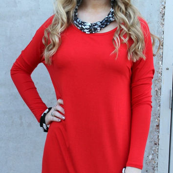 Keep It Simple Long Sleeve Piko Tunic in Red