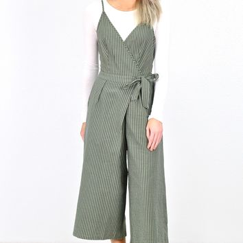 Strike a Pose Striped Midi Jumpsuit {Olive}