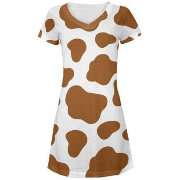 CREYCY8 Halloween Costume Brown Spot Cow All Over Juniors Beach Cover-Up Dress