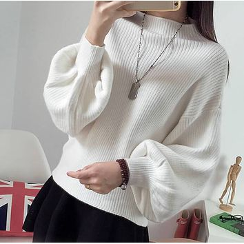 Batwing Balloon Sleeve Crew Neck Sweater