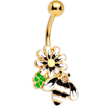 Pink Gem Gold Tone Anodized Bumble Bee Belly Ring