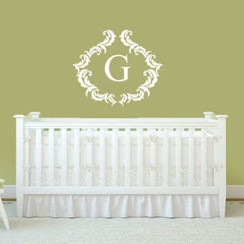 Damask Framed Monogram Decal | Nursery Monogram | Victorian Nursery Decor