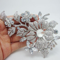 Bride Fashion Flower Leaf Brooch Pin Clear Rhinestone Crystal Bridal Bridesmaid Wedding Jewelry (Size: 72 g, Color: Clear) = 1929596100