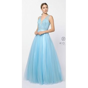 Embellished Bodice V-Neck Long Prom Dress Light Blue