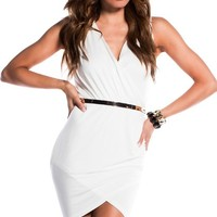 Keisha White Bodycon Sleeveless Wrap Dress