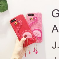 Cute 3D Flamingo Hard Cover Chain Detailing iPhone Case