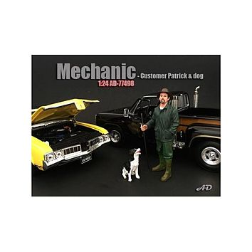 Customer Patrick and a Dog Figurine / Figure For 1:24 Models by American Diorama