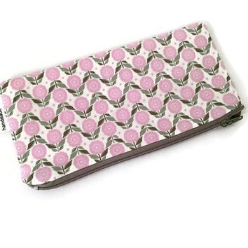 Floral Zip Pouch - Pink Fowers - Pink Pencil Case - Small Cosmetic Case - Cute Coin Purse - Kawaii Purse - Girls Accessory - Makeup Bag