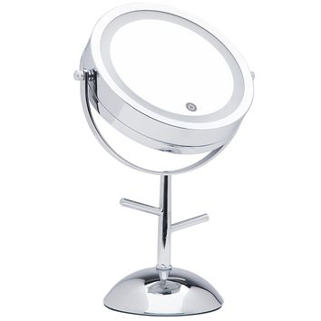 Mirrorvana 7-Inch Dual-Sided Magnifying LED Lighted Vanity Makeup Mirror with Jewelry Hooks, 1X and 5X Magnification
