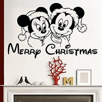Wall Decal Merry Christmas Vinyl Sticker Decals Mickey Mouse Nursery Baby Room Kids Boys Girls Home Decor Bedroom Art Design Interior C260