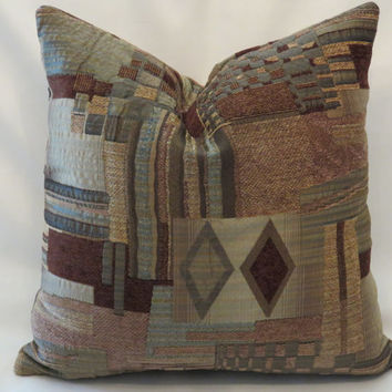 "Brown and Blue Chenille Pillow in Patchwork Textures 17"" Square Cover and Insert Ready to Ship"