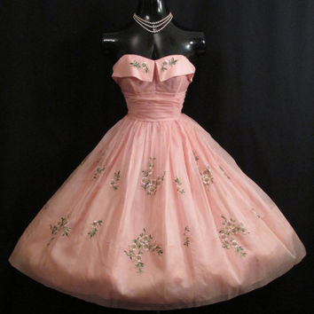 Vintage 1950's 50s Cupcake Strapless PINK Silk Chiffon Organza Embroidered Party Prom Wedding Dress Gown