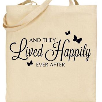 They Lived Happily Ever After Tote Bag - Bride to Be, Newlywed, Bridal, Wedding, Shower, Bachelorette Party Gift