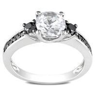 Sterling Silver Created White Sapphire and Black Accent Diamond Ring (0.33 Cttw)
