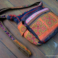 Colorful Ethnic Hmong Embroidery and Batik Messenger Bag Cross Body Tote