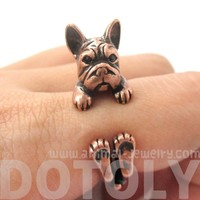 3D French Bulldog Animal Wrap Around Ring in Copper - Size 5 to 8.5