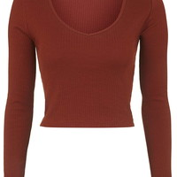Long Sleeve V-Neck Top - Topshop