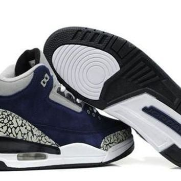 Cheap Air Jordan 3 Fur Leather Black Navy Shoes