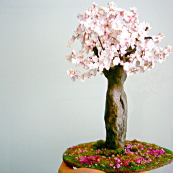 WIRE CLAY TREE, cherry tree sculpture,  gift ideas, pink blossomed tree , christmas gift