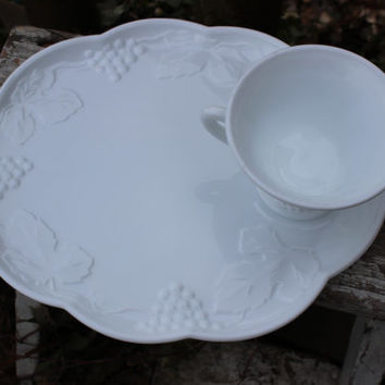 Milk Glass luncheon plate sets wedding serving vintage Harvest Colony 28 AVAILABLE & Shop Vintage Snack Plate And Cup on Wanelo