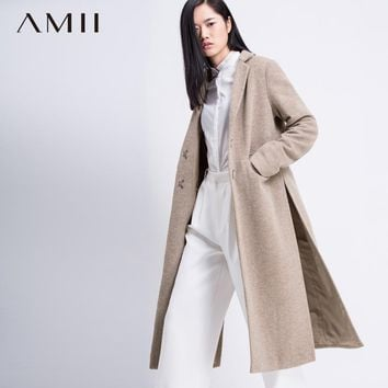 Amii Casual Women Woolen Coat 2018 Winter Long Slits Solid Covered Button Female Wool Blends