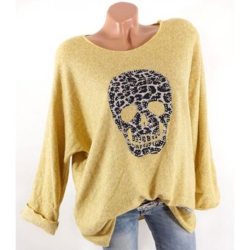 Women'S T-Shirt Long Sleeve Solid O-Neck Casual Skull Print