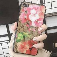 GUCCI Classic Floral Printed Glass Phone Case iPhone7p/8p All Inclusive Cover red