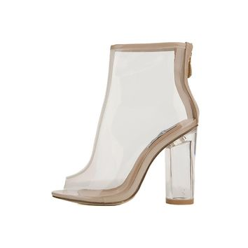 Women's Benny-1 Ankle Bootie Clear High Heel Boots