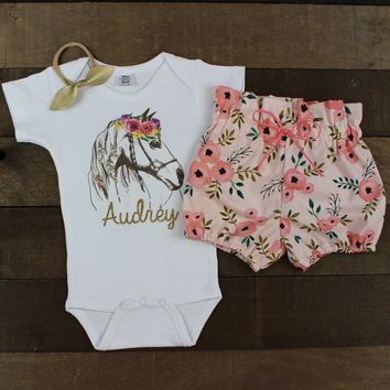 Custom Flower Horse Pink Bloomer Outfit