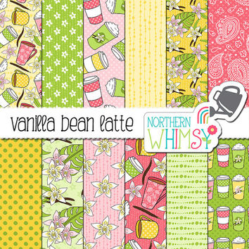 "Spring Digital Paper - ""Vanilla Bean Latte"" - Coffee, vanilla and orchid patterns in pink, yellow & green - scrapbook paper - commercial use"