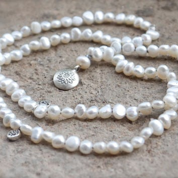 Genuine pearl mala beads with sterling silver lotus pendant and om charms Hand knotted yoga necklace Buddhist meditation rosary beads